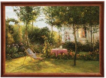 Reprodukcja obrazu w drewnianej ramie o wymiarach 50x70 cm - Dom w ogrodzie II, Zygmunt Konarski-Postergaleria