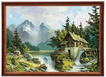 Reprodukcja obrazu w drewnianej ramie o wymiarach 50x70 cm - Młyn nad jezorem, Wojciech Król-Postergaleria