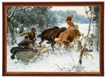 Reprodukcja obrazu w drewnianej ramie o wymiarach 50x70 cm - Napad wilków, Alfred Wierusz- Kowalski-Postergaleria