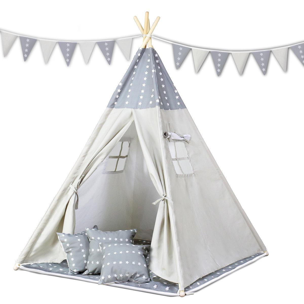 Ricokids, namiot dla dzieci Tipi, Gwiazdki, biało szary
