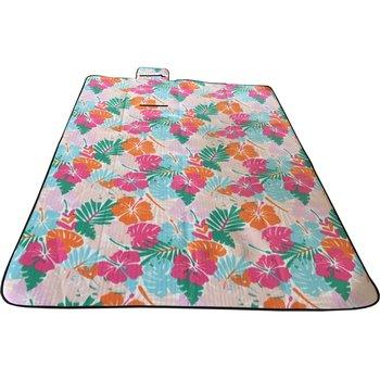 Royokamp, Koc plażowy - piknikowy, różnokolorowe liście, 200x200 cm-Royokamp