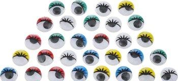Ruchome oczy z rzęsami, różnokolorowe, 20 sztuk