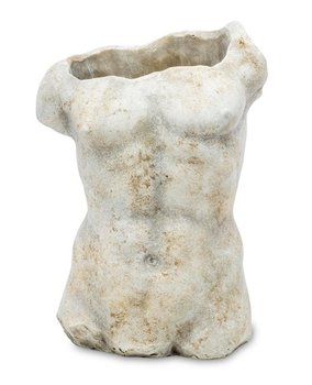 Rzeźba PIGMEJKA tors męski, szary, 29x20,5x13 cm-Pigmejka
