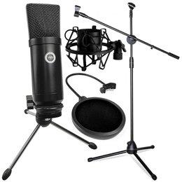 SAIBU MU-1 - Mikrofon pojemnościowy USB + Statyw 2m + POP Filtr + Kosz antywibracyjny