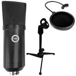 SAIBU MU-1 - Studyjny mikrofon pojemnościowy USB + Statyw/tripod KH12 + Pop Filtr Mikrofonowy PS1