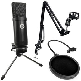 SAIBU MU-1 - Studyjny mikrofon pojemnościowy USB + Uchwyt/statyw biurkowy + POP Filtr