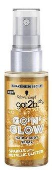 Schwarzkopf, Got2b, spray koloryzujący do włosów i ciała z brokatem Go'N'Glow złoty, 50 ml-Schwarzkopf