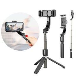 Selfie stick teleskopowy rozsuwany kijek do selfie statyw z pilotem Bluetooth gimbal jednoosiowy czarny