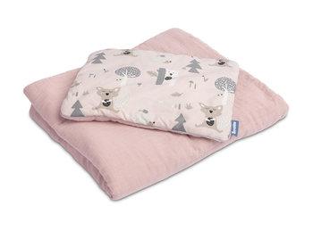 Sensillo, Komplet pościeli do łóżeczka, Bawełna/Muślin, Polana, Różowy-Sensillo