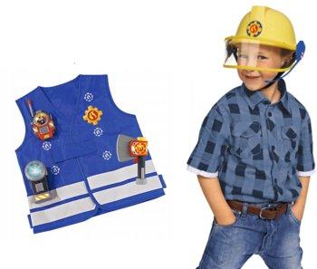Simba, Strażak Sam, kask z mikrofonem w zestawie z kamizelką z walkie talkie oraz gaśnicą-Simba