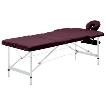 SkĹ'adany stół do masaĹĽu, 3 strefy, aluminiowy, fioletowy-vidaXL