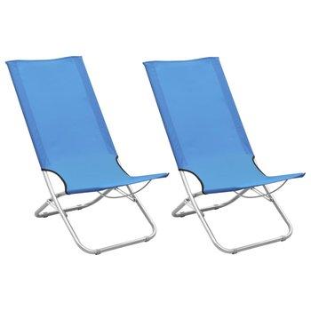 Składane krzesła plażowe, 2 szt., niebieskie, obite tkaniną-vidaXL