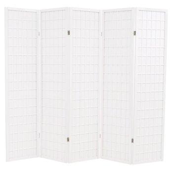 Składany parawan 5-panelowy w stylu japońskim vidaXL, 200x170, biały-vidaXL