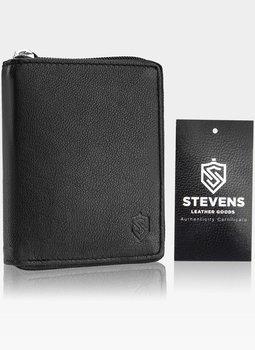 Skórzany czarny portfel męski STEVENS duży na suwak Pionowy - czarny-Stevens
