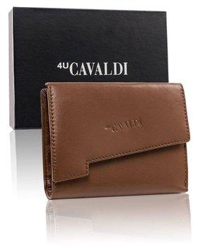 Skórzany portfel damski z asymetryczną klapką, półmatowy-4U CAVALDI