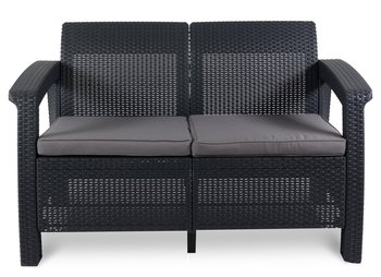 Sofa ogrodowa Corfu Love Seat, grafitowo-szara, 128x70x79 cm-Curver