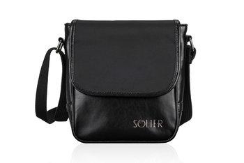 Solier, torba męska SL07 Derry na ramię/listonoszka, skórzana, czarna-Solier