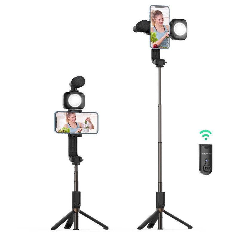 Statyw / tripod / Selfie stick BlitzWolf BW-BS15 z lampą i mikrofonem