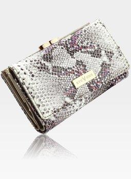STEVENS portfel damski skórzany mały skóra RFID Szary + Różowy Błyskotka - Szary + Różowy Multi-Stevens