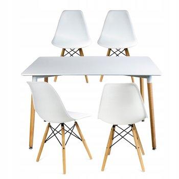 Stół + 4 krzesła skandynawskie nowoczesny komplet-JUMI