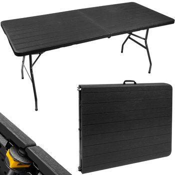 Stół Cateringowy Składany Ogrodowy Solidny 180 cm Czarny-Iso Trade