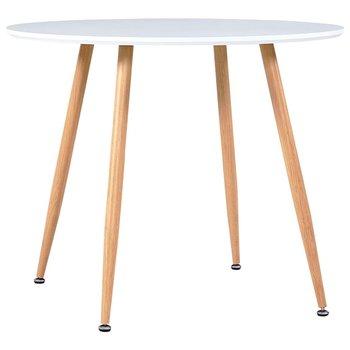 Stół do jadalni vidaXL, kolor biały i dębowy, 90 x 73,5 cm, MDF-vidaXL