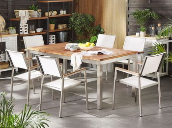 Stół ogrodowy BELIANI Grosseto, drewniany tekowy, 180x90 cm-Beliani