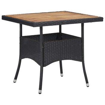 Stół ogrodowy, czarny, polirattan i lite drewno akacjowe-vidaXL