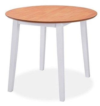 Stół rozkładany ELIOR Toto, biały-brąz, 90x90x75 cm-Elior