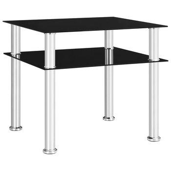 Stolik boczny, czarny, 45x50x45 cm, szkło-vidaXL