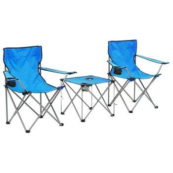 Stolik i krzesła turystyczne, 3 elementy, niebieskie-vidaXL