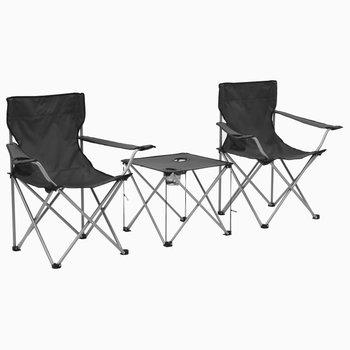 Stolik i krzesła turystyczne, 3 elementy, szare-vidaXL