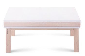 Stolik kawowy, biały matowy/buk olejowany, 60x28x60 cm-Konsimo