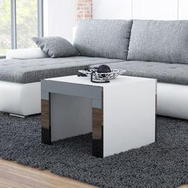 Stolik kawowy kwadratowy Tucson, biało-czarny, 60x60x50 cm-High Glossy Furniture