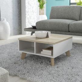 Stolik kawowy Livorno, biało-beżowy, 60x60x35 cm-High Glossy Furniture