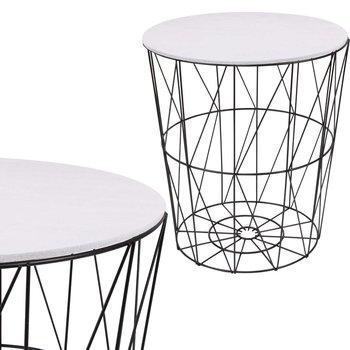 Stolik kawowy loft, kosz metalowy industrialny 45 cm czarny, biały blat-Springos
