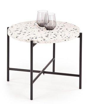 Stolik kawowy z blatem lastryko ELIOR Tiara, czarno-biały, 40x50x50 cm-Elior