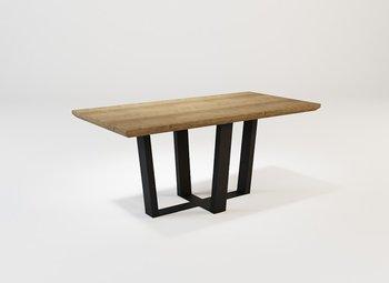 Stolik kawowy z litego drewna dębowego i stali V03 SK OAK-LOFTABLE
