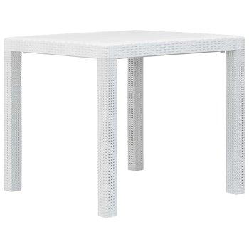 Stolik ogrodowy, 79x79x72cm, plastik o wyglądzie rattanu, biały-vidaXL