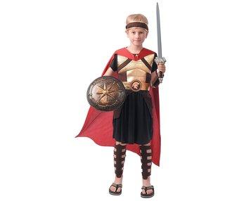 Strój dla dzieci Rzymski Rycerz (opaska na głowę, peleryna, szata, ochraniacze na nogi, mankiety, pasek), rozm. 130/140 cm-GoDan
