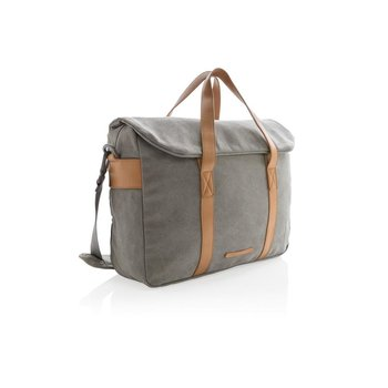 """Stylowa, płócienna torba na laptopa 15,6"""" Szara - szary-XD COLLECTION"""