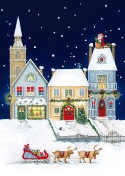 Świąteczny pejzaż miejski kartka z tekstem GD-T 83-Czachorowski