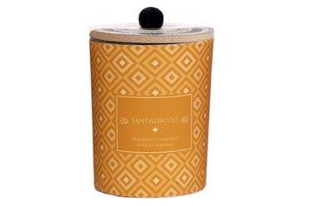 Świeczka dekoracyjna, styl afrykański, szkło, żółta, 12 cm, zapach drzewa sandałowego-Sil