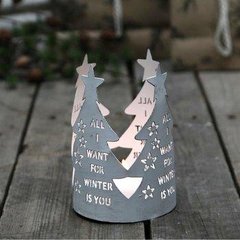 Świecznik Choinka Tealight, biała, 15 cm