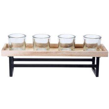 Świecznik na tealight EX EXCELLENT HOUSEWARE, czarno-brązowy, 37x12x12 cm-Home Styling Collection