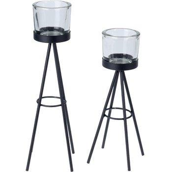 Świecznik na tealight EX EXCELLENT HOUSEWARE, czarny, 16x16x26 cm-Home Styling Collection
