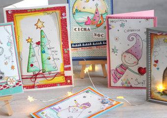 Święta jak z kreskówki, czyli kartki malowane promarkerami