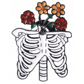 Szkielet z kwiatami przypinka-Pinets