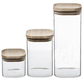 Szklane pojemniki na żywność, ozdobne słoiki z drewnianą pokrywką-5five Simple Smart