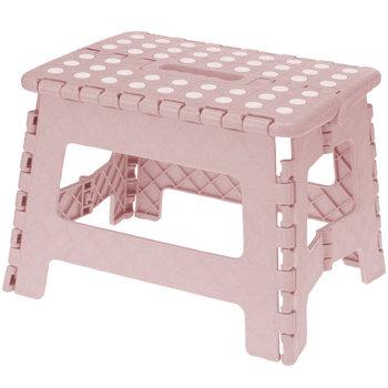 Taboret składany z tworzywa sztucznego, różowy, 29 x 22 x 22 cm-Storagesolutions